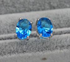 18K White Gold Filled - 6*8MM Oval Blue Topaz Cocktail Women Stud Earrings HOT