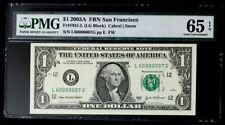 GEM 2003A $1 SUPER FANCY SER# 60000007 - PMG #65EPQ GEM NEW - BEAUTIFUL
