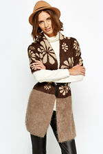 Women's Contrast Geo Flower Scarf Brown Beige Soft Knit Fluffy Poncho New Shawl