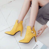 Fashion Womens Metal Decor Pointy Toe Slim High Heels Side Zip Ankle Boots 35-43