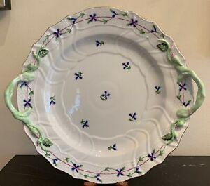 Herend Hungary Porcelain Blue Garland (PBG) 1173 Handled Chop Plate
