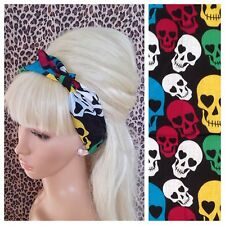 Nero Multicolore Grande Teschio di stampa Cotton Bandana Head Band Per Capelli Collo Sciarpa Retro