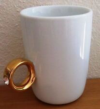 Fred 2 Carat Ring Handle Cup Mug Porcelain Genuine Swarovski Crystal White