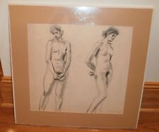 Two Standing Nude Women-Seductive Charcoal Drawing-1960s-Lambro Ahlas-Listed