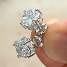 Elegant Stud Earrings Women 925 Silver Jewelry Round Cut White Sapphire A Pair