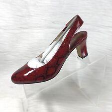 Ros Hommerson Vicki Pumps Low Heel Red & Black Snake Print Leather Size 7 N