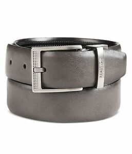 Kenneth Cole Mens Reversible Stretch Belt, Grey, Small
