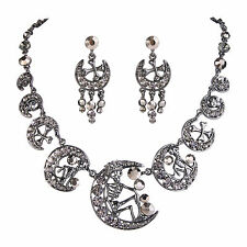 Skull Moon Black Austrian Crystal Necklace Earrings Set Halloween Jewelry Party