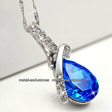 Royal Blue Crystal Necklace Love Gifts For Her Wife Mum Sister Girlfriend Women