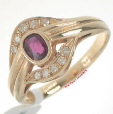 14k Yellow Gold Genuine Diamonds, Oval Red Ruby Ring In Bar & Bezel Setting TPJ