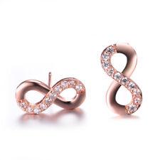 Cute 18K Rose Gold CZ Infinity Figure 8 Stud Earrings Womens Girl Jewelry Gifts