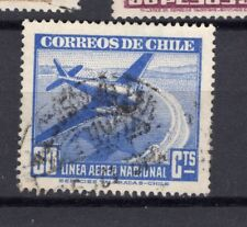 CHILE 1941-42 LAN 80 cts blue USED RARE watermark position 2