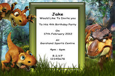 10 Personalised  Dinosaur Party Invitations / Thank You Cards