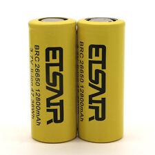 2pcs 26650 Battery 12800Mah 3.7V Flat Top Li-ion Rechargeable Batteries 47.36Wh