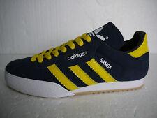 Adidas Originals Samba Super Blue Suede CUSTOM Yellow Stripes & Laces (UK 9)BNIB