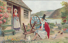 Artist Drawn, THE MAID BY THE SPINNING WHEEL, Valentines Art Colour Series