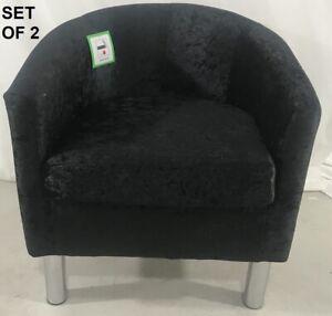 2X Black Velvet Arm Chair Tub Chair Lounge Armchair Occasional Accent Sofa Chair