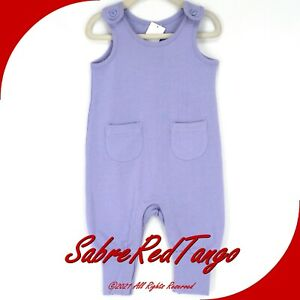 NWT HANNA ANDERSSON FRENCH TERRY POCKET OVERALLS ROMPER LAVENDER 75 12-18 M