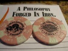 Harley Davidson Pink & White Poker Chip from St. Thomas U.S.V.I.