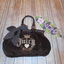 JUICY COUTURE Medium Brown Gold Bow Soft Handbag Purse