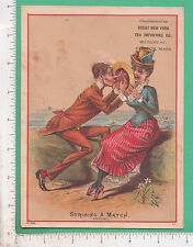 9876 New York Tea Importing Co trade card pun man & woman courting Clinton, MA