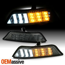For 2015-2017 Ford Mustang Smoke Bumper Light Pair LED Parking Sequential Signal