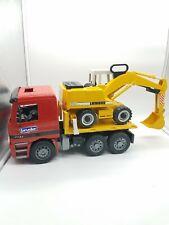 Bruder Red Mercedes Dump Truck with Liebherr 912 Backhoe Excavator Tractor