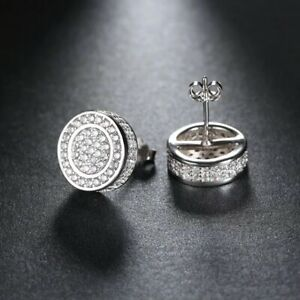 SMALL 18K PLATINUM FILLED ICED STUD EARRINGS MADE WITH  SWAROVSKI CRYSTALS WG30