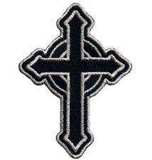 "Celtic Cross Applique Patch - Irish, British, Black, Silver 3.5"" (Iron on)"