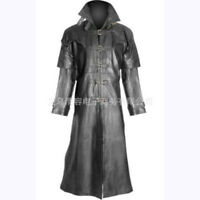 Punk Rave Men's Rock Military Uniform Long Coat Leather Jacket Steampunk Gothic