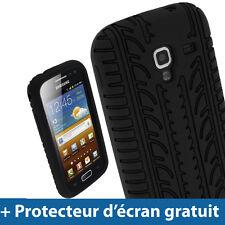 Noir Pneu Étui Housse Case Silicone pour Samsung Galaxy Ace 2 I8160 Smartphone