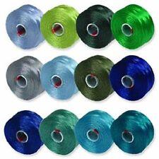 S-Lon Beading Thread Bobbins 12 Colors Size D Blues and Greens (STSL-MIX2)