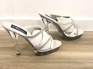 Pleasers Lip 104-2 White Satin Strappy Heels Diamontes Size US 8