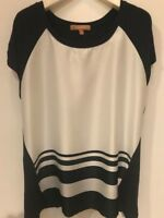 WOMEN'S nautical Navy and white  short sleeves shirt, ,  size L