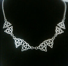 """Celtic Trinity Knot Necklace with 8 charms, length 18"""" plus 2"""" extender"""