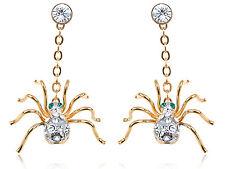 Fashion Golden Creepy Swarovski Elements Crystal Rhinestone Spider Drop Earrings
