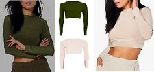 LADIES WOMEN  POLO NECK LONG SLEEVE SLINKY CROP TOP T SHIRT SIZE 6-14