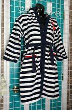LIGHTENING MCQUEEN Disney Cars BATHROBE Terry cloth striped child sz 10 hooded