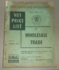1953 Ford Wholesale Trade Net Price List Parts Book 1928-1953