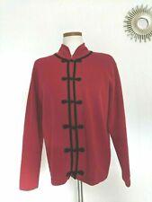 Vintage Talbots 100% Wool Cardigan Petite M Sweater Red Black Loop Chinese Frog