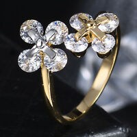 Clover Round Crystal Sapphire Silver & Gold Filled Adjustable Women Party Ring