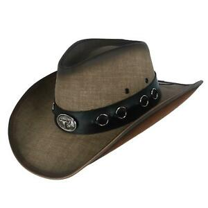 New Kenny K Men's Vegan Leather Western Hat with Conchos