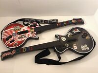 PS3 WIRELESS GUITAR HERO LES PAUL LOT OF 2 NO DONGLE SYNC ISSUE FOR PARTS