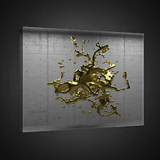CANVAS WANDBILD LEINWANDBILD FOTO GOLD FARBE ABSTRAKTION BLECH METALL  3FX2375O1