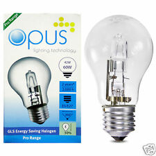 5 x Opus 42w = 60w GLS ES E27 Screw Cap Long Life Clear Eco Halogen Light Bulb
