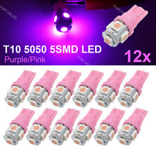 12 X T10 194,168,W5W 5 5050 SMD LED Pink Ultraviolet UV Car Light Lamp Bulbs 12V