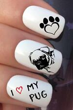 WATER NAIL I LOVE MY PUG PUPPY DOG HEART PAW PRINT TRANSFERS DECAL STICKERS *691