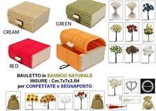 SET N.10 BAULETTO Cm.7x7x4H in BAMBOO NATURALE ROSSO per BOMBONIERA e CONFETTI
