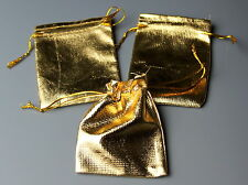 10 x Bags pouch, Plain Gold Coloured, Wedding Favour, Gift Bag, Top Drawstring