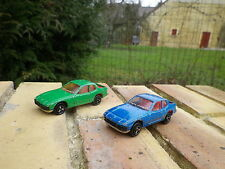 MAJORETTE: Lot de 2 PORSCHE 924 ref 247 bleu et verte état d'usage